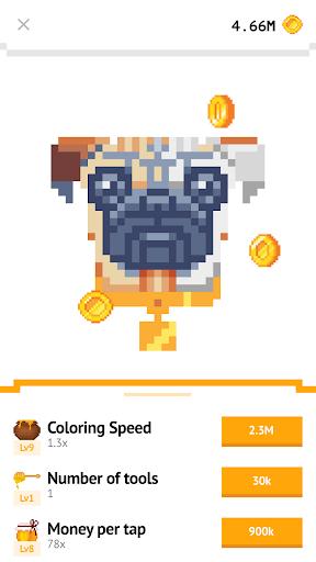 Idle Pixel Art Coloring - Tap tap to color clicker 1.0.2 Mod screenshots 5