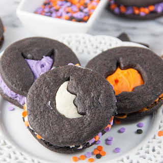 Halloween Chocolate Sugar Cut Out Cookie Sandwiches.
