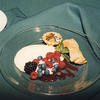 Cider Sabayon, Fresh Summer Berries and a Raspberry Coulis with Little Pastries.