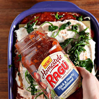 Vegetarian Spinach Lasagna with RAGÚ® Homestyle Sauce.