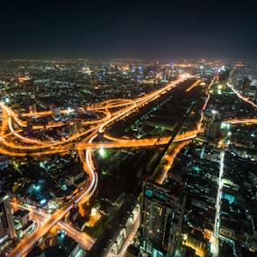 Bangkok city by Paulius Bruzdeilynas - City,  Street & Park  Night ( sony, bangkok, traveling, traffic, nex6, thailand, thai, sonynex6, night, streets, travel, city, city at night, street at night, park at night, nightlife, night life, nighttime in the city,  )