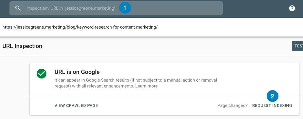 ask for post to be reindexed in google search console