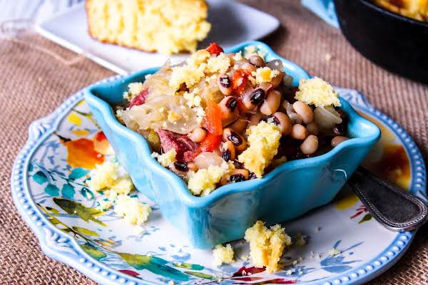 Slow Cooker Black-eyed Pea And Cabbage Soup With Cornbread On Top.