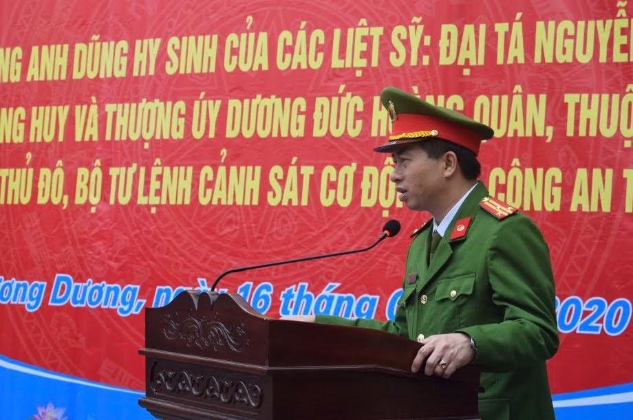 Đồng chí Thượng tá Trần Phúc Tú, Trưởng Công an huyện phát biểu tại Lễ phát động.