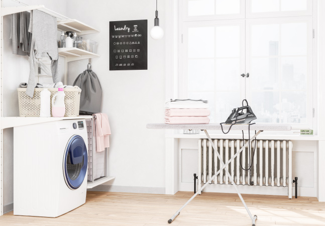 Laundry room shelves overtop a washer