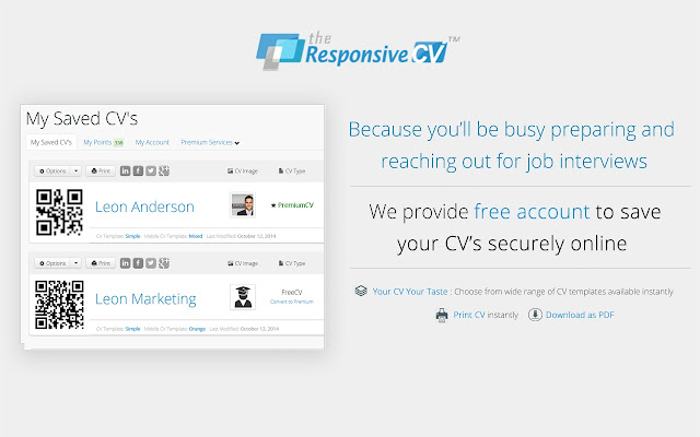 Responsive CV: Resume Maker from LinkedIn - Chrome Web Store