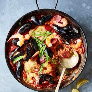 Easy Chorizo, Chicken, and Shellfish Paella.