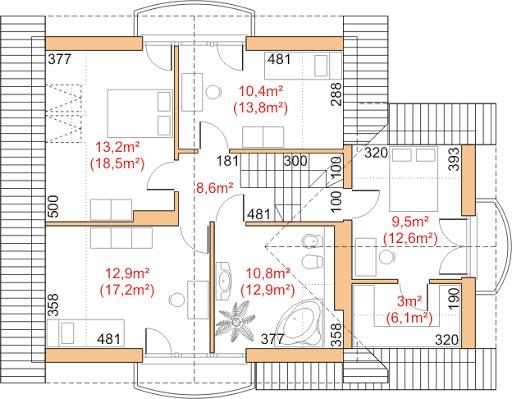 Dom przy Cyprysowej 11 - Rzut poddasza