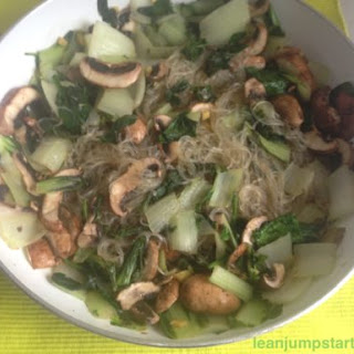 Bok Choy Noodles With Mushrooms.