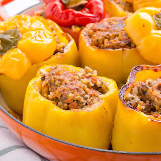 Chicken and Brown Rice Stuffed Bell Peppers.