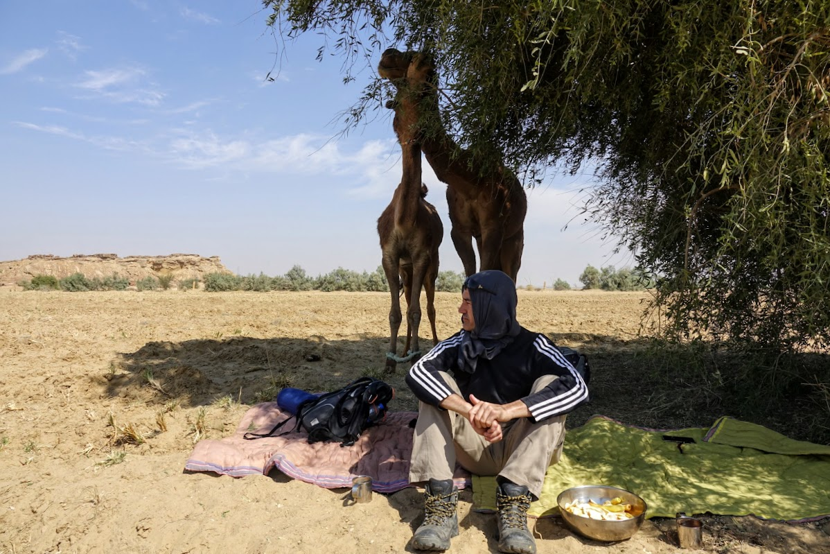 Thar. Desert Camel Trekking Day 3. Enjoying lunch and shade in the Thar Desert