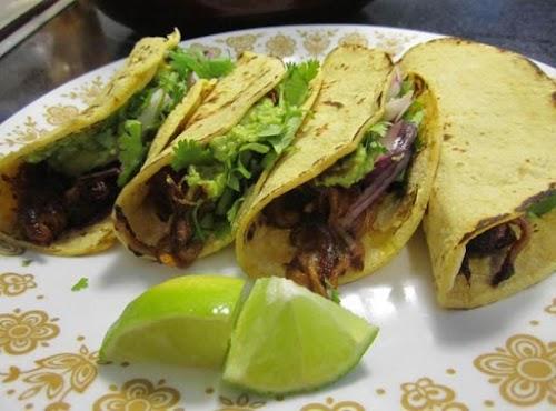 "Beer Braised Pork Carnitas Tacos ""I love tacos from taquerias this recipe..."