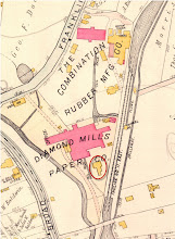 Photo: Collins house circled in red. Morris Canal Inclined Plane 11 East on the right. Diamond Paper Mill where Kinder Towers is currently located. Mueller, Atlas of Essex County, 1906.
