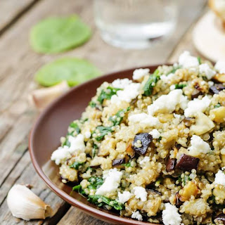 Roasted Eggplant and Quinoa Salad with Feta.