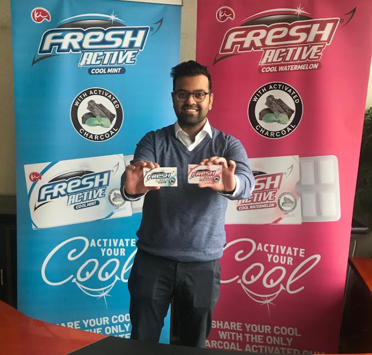 Kenafric Industries MD Mikul Shah showcases the all new Fresh Active chewing gum, Africa's first Charcoal Activated gum that was launched at Kenafric headquarters in Nairobi on the 22nd of July 2021.