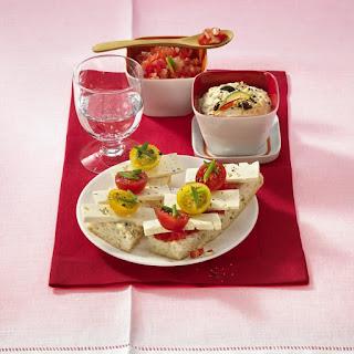 Pita Bruschetta with Hummus and Salsa.