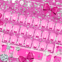 Glossy Shine Pink Bow Diamond Keyboard Theme icon