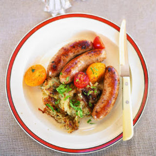 Sausages with Warm Tomatoes and Hash Browns