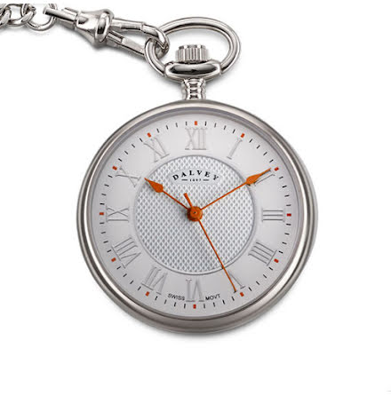 Dalvey Pocket Watch Open Face White/Orange