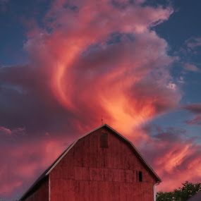 Sunset after a summer storm by Greg Croasdill - Buildings & Architecture Other Exteriors ( clouds, barn, skyfire, sunset, glowing )