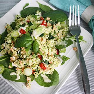 Chopped Broccoli Salad with Roasted Garlic Aioli.
