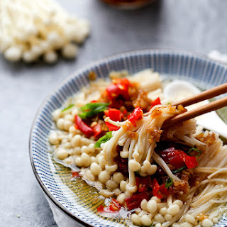 Steamed Enoki Mushrooms.