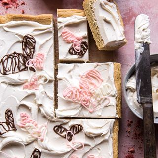 Browned Butter Sugar Cookie Bars with White Chocolate Frosting.