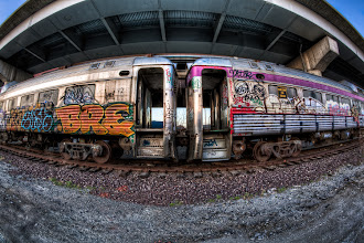 Photo: A Fisheye HDR of some tagged up trains taken under I93 (adjacent to the Zakim Bridge) in Boston, MA