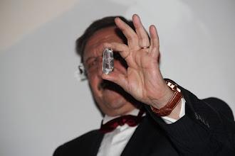Photo: Maxim Behar, checking if the crystal (C4F award) is real...