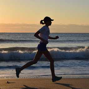 by Steve Hayes - Sports & Fitness Running ( jog, wave, ocean, sunrise,  )
