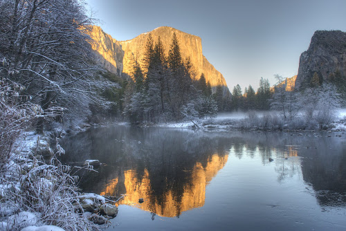 El Capitan by Eleazar Valdez - Landscapes Sunsets & Sunrises ( reflection, el capitan, beautiful, snowy, quiet, beauty, w, soli, mountains, cold, yosemite, sunset, snow, la,  )