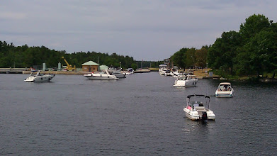 Photo: A traffic jam at Swift Rapids lock