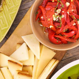 Paprika Manchego with Pequillo Peppers and Spanish Olives.