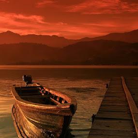 Boats by Edwin Yepese - Transportation Boats ( transportations, backgrounds, sunset sunrise )