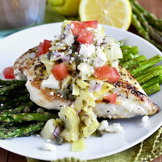Lemon Pepper Chicken with Artichoke Salsa and Roasted Asparagus