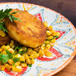 Graham Elliot's Grit Cakes with Grilled Corn.