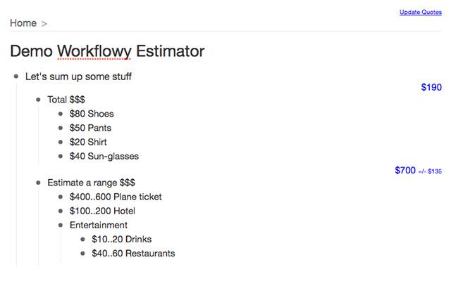 WorkFlowy Estimator
