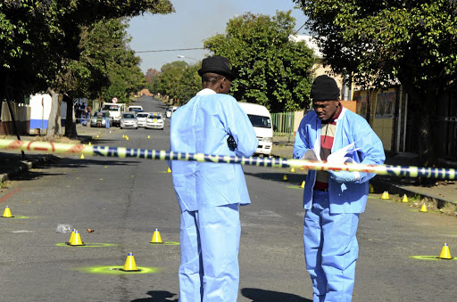 Crime scene detectives counted 54 spent cartridges in Brakpan, east of Johannesburg, yesterday after taxi association guards opened fire at a group of taxi drivers. This photo is used for illustration purposes only.