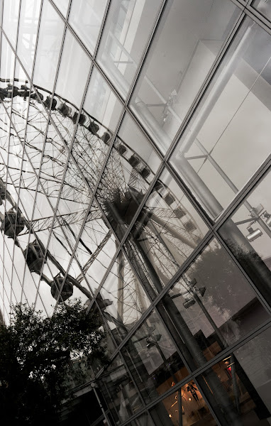 Photo: Reflection of Manchesters big wheel