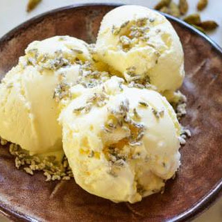 Yellow Cardamom Ice Cream with Candied Fennel Seeds.