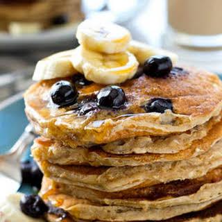 Blueberry Banana Oatmeal Sour Cream Pancakes.