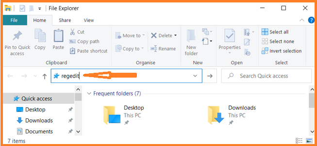 Open Registry Editor through File Explorer