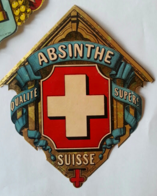 Francois Appel - Imprimerie, 12, Rue Delta, Paris - Etikett Absinthe Suisse