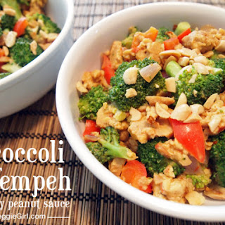 Indonesian Broccoli and Tempeh with Spicy Peanut Sauce.