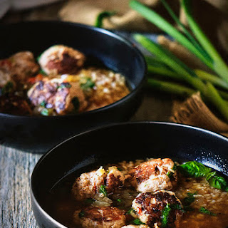 Gingered Turkey Meatball Soup with Brown Rice and Basil