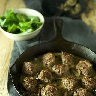 Elk Meatballs with Mushroom Thyme Cream Sauce