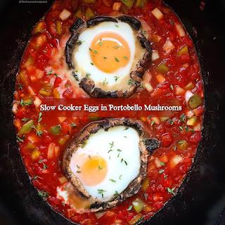Slow Cooker Eggs in Portobello Mushrooms (Paleo/Whole30).