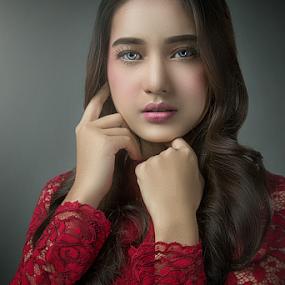LOOK INTO MY EYES by WanUkay Perdana - People Portraits of Women ( red, studio, alone, beauty, model )