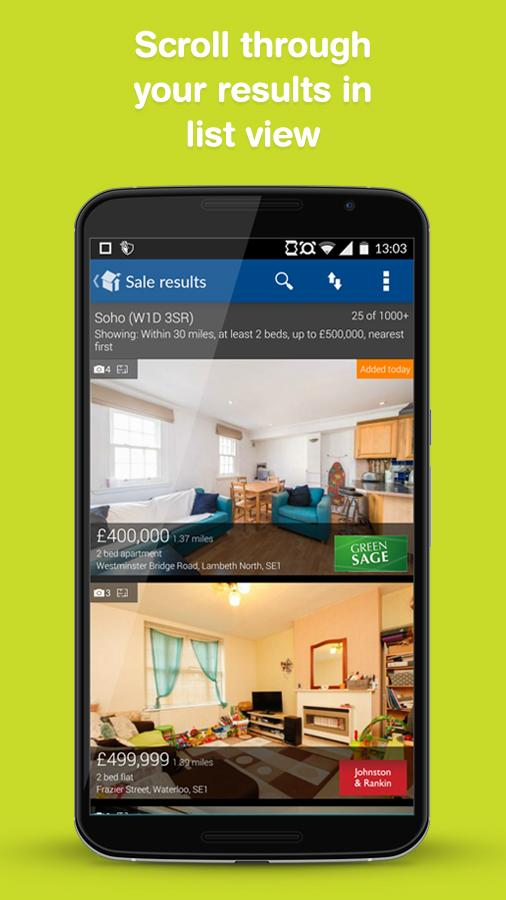Rightmove property search app- screenshot