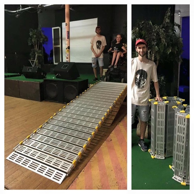 Image Description: (Left) Fully assembled Vournakis Roll-A-Ramp providing zero-step access to the performance stage at Mammal Gallery. (Right) Fully disassembled Vournakis Roll-A-Ramp for ease of transport.